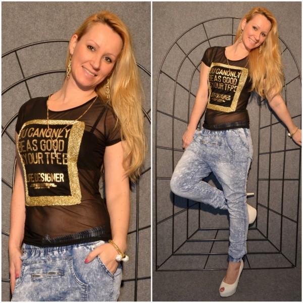 LIFE DESIGNER Shirt mit goldenem print SCHWARZ