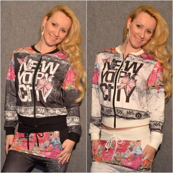 Italy Zippjacke / Jacke mit NEW YORK CITY Blumen print