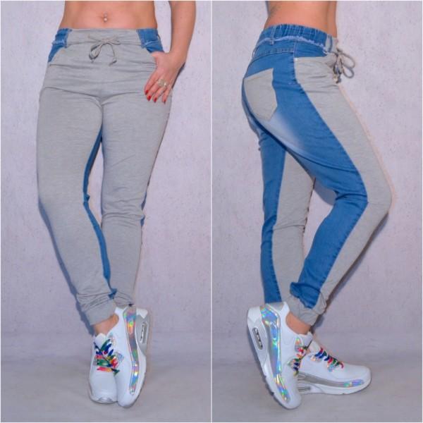 Lässige Damen stretch Denim SWEAT / JEANS Bluejeans - GRAU Blau