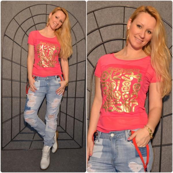 NUMBERS Shirt mit goldenem print PINK