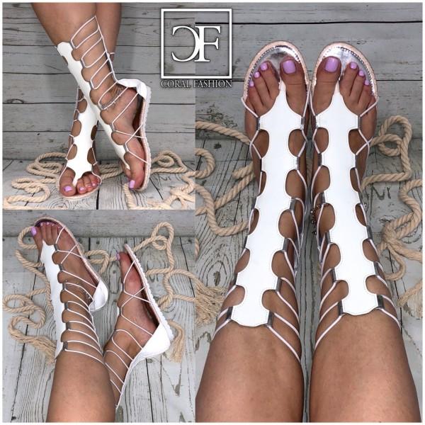 Damen Fashion Römer / Gladiator Sandalen weiß