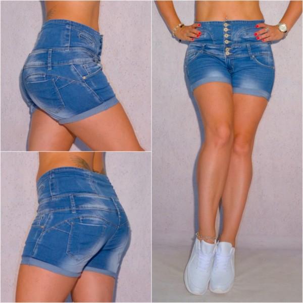 Sexy Highwaist Damen Stretch Jeans Shorts Hotpants Denim Hose