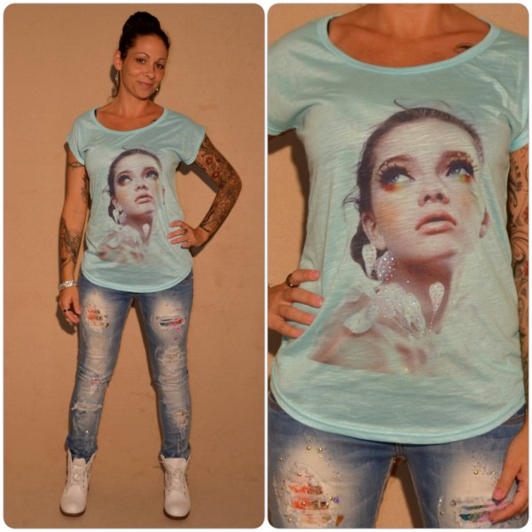 Stylisches Shirt Modell: Make Up LADY BLAU / TÜRKIS