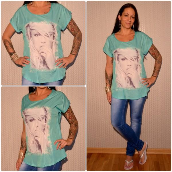 Stylisches Shirt Modell: Strasshand Lady GRÜN