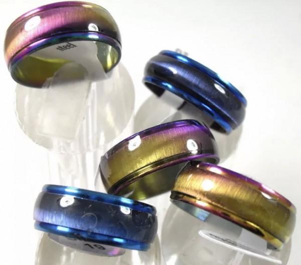 Klassischer CAT EYE Edelstahl Ring Regenbogen & Blau Damen Herren Kinder Stainless Steel