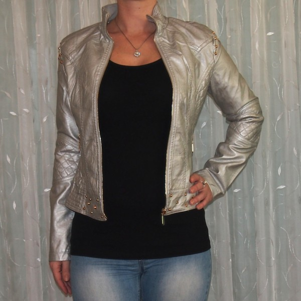 Damen Jacke mit NIETEN SILBER Metalic