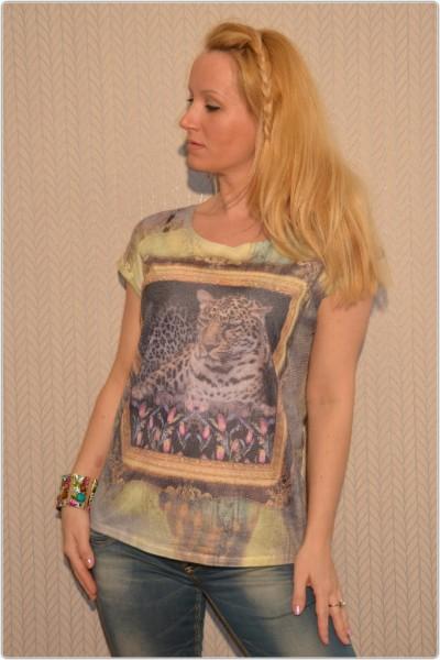 3D Shirt mit Netzt LEOPARD im Rahmen Bunt / GELB