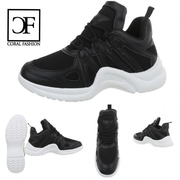 Damen Fashion TREND Sportschuhe / Sneakers Stripe Wave extra Leicht SCHWARZ