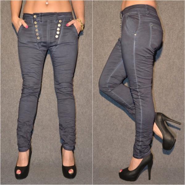 Ausgefallene Harems Jeans mit DOUBLE Knöpfen BLAU