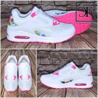 Bequeme FLOWER Double AIR Sportschuhe / Sneakers WEISS / PINK