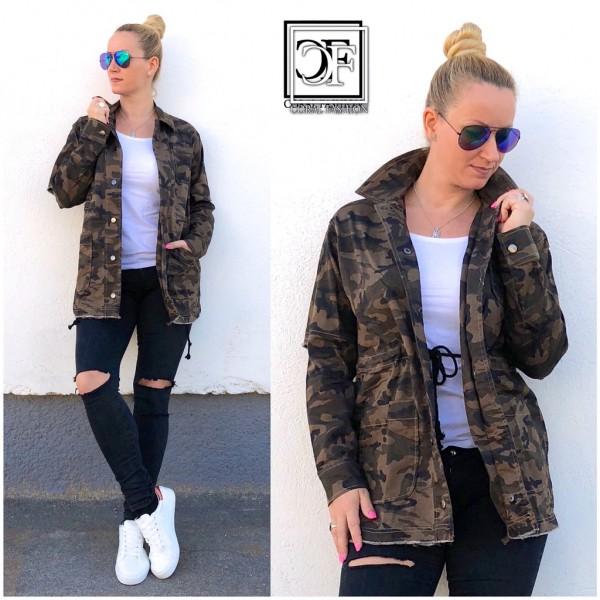 Coole Damen CAMOUFLAGE Military Army Denim Jeans Look Jacke mit Druckknöpfen