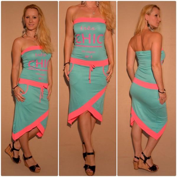 """Stylisches Bandeau Kleid """"Tres CHIC"""" GRUEN / PINK"""