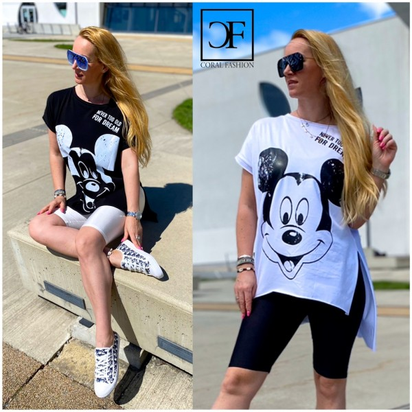 Italy Damen Mickey Shirt Tunika Longshirt in 2 Farben