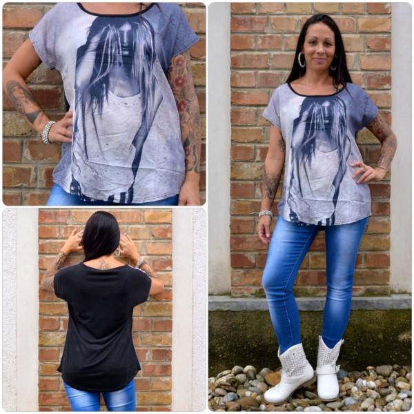 Stylisches Shirt Modell: LADY Haare SCHWARZ