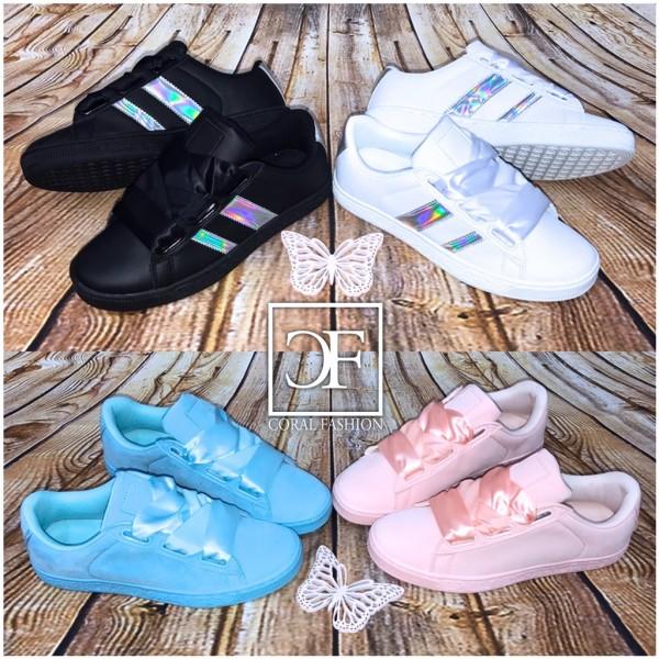 Lowcut COLOR & Holo STRIPE Sportschuhe / Sneakers mit Seiden Schnürsenkel