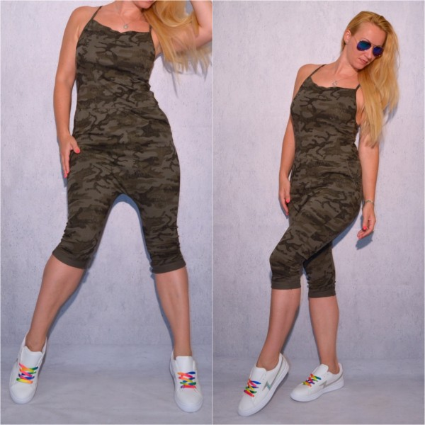 ITALY Jersey Capri Harems OVERALL / Jumpsuit grün CAMOUFLAGE