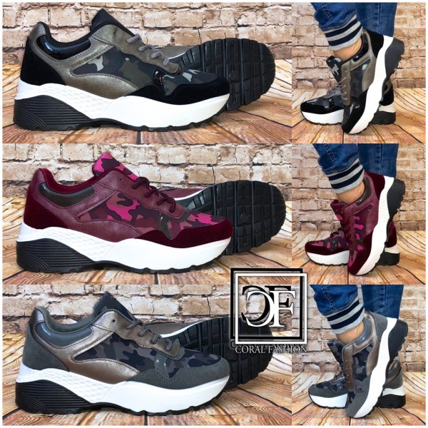 Damen Camouflage Color Chunky Sneakers Sportschuh