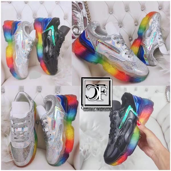 Damen HOLO / GLITZER Pailletten Chunky Sneakers Sportschuhe mit RAINBOW Sohle