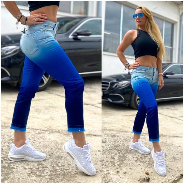 Italy Damen 7/8 stretch Denim JEANS Hose mit Farbübergang Blau / Marke PLEASE Fashion
