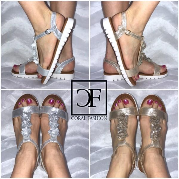 Fashion BLÜMCHEN Sandalen / Sandaletten mit weißer Sohle