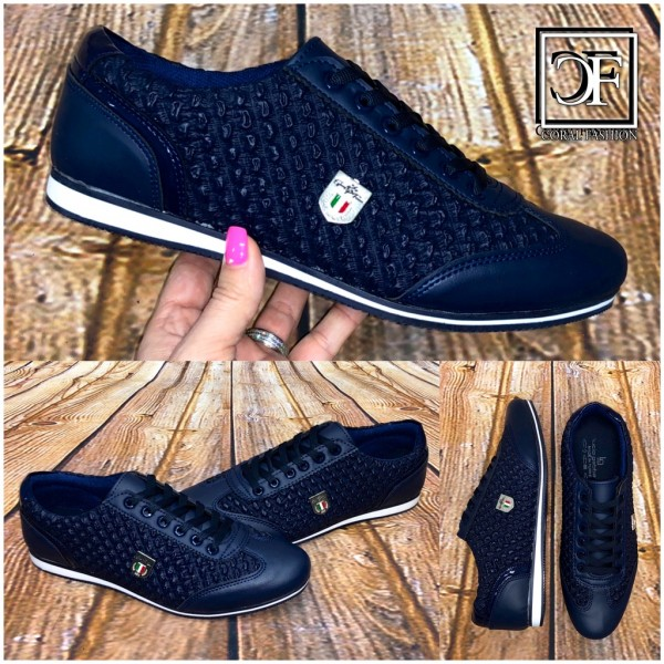 best website c8a91 6b2b2 Sportlich Elegante HERREN Schuhe Sneakers Sportschuhe Schnürschuhe mit  Emblem BLAU