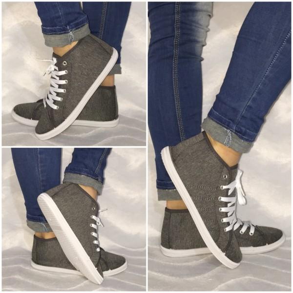 JERSEY Sneakers mit Steppung DUNKEL-GRAU