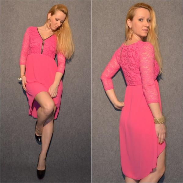 Doppellagiges VOKUHILA Kleid mit Zipp beim Ausschnitt PINK
