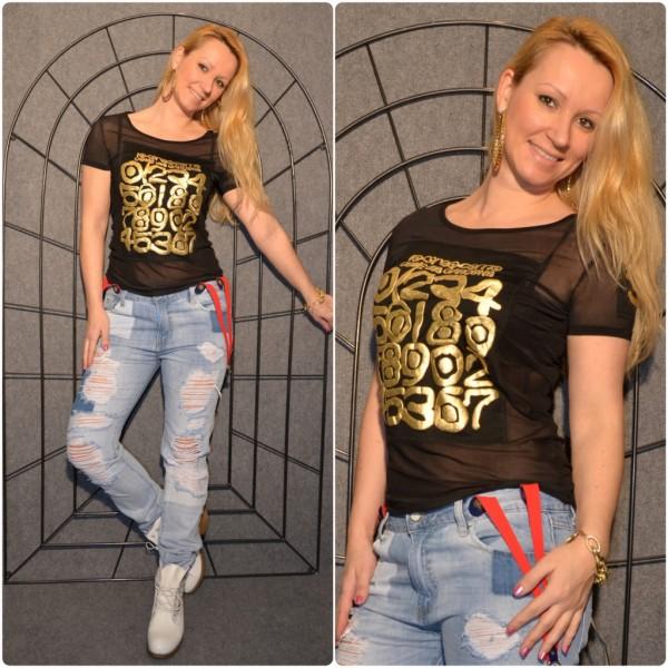 NUMBERS Shirt mit goldenem print SCHWARZ