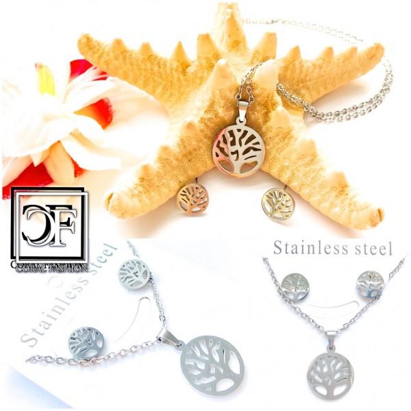 Fashion Edelstahl Stainless Steel Schmuck Set Ohrringe Anhänger Kette Silber + GRATIS Schmuckbox