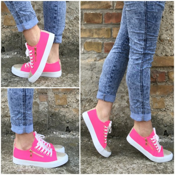 Coole Lowcut DENIM Sportschuhe / Sneakers mit Dekozipp PINK
