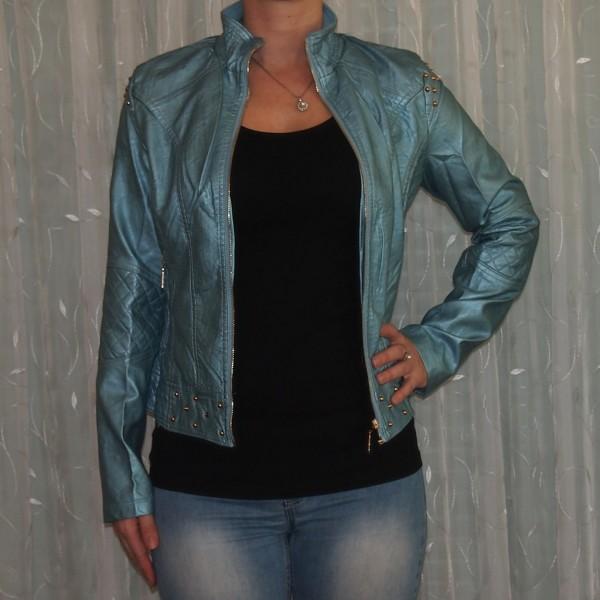 Damen Jacke mit NIETEN BLAU Metalic