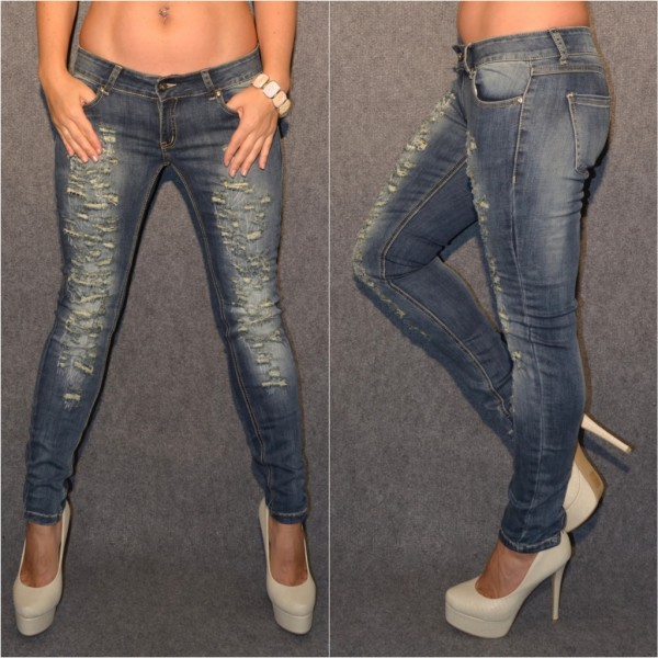 Sexy Skinny stretch Jeans in STEPP & DESTROYED Look