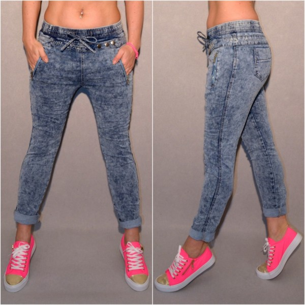 SEXY DENIM Strass Stretch JEANS mit GUMMI Bund