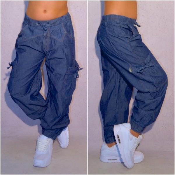 Lässige KINDER Mädchen Harems Baggy JEANS Hose mit Gummibund & Seitentaschen Blau