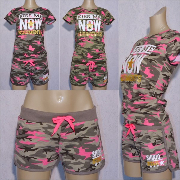 Damen Sommer Camouflage SET separat bestellbar T-Shirt & Shorts Hot Pants KISS Me NOW Shining STAR