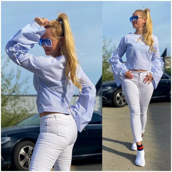 *Einzelstück Italy Damen Bluse Hemd mit Trompeten Ärmel Blau Weiß / Marke PLEASE Fashion