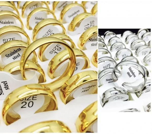 Edelstahl Ring Ehering Gold & Silber Damen Herren Stainless Steel