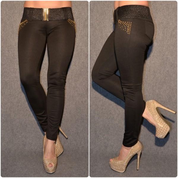 Figurbetonte Hose mit goldenen Nieten & Gürtel SCHWARZ