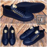 HERREN Fashion LOW CUT Sportschuhe / Sneakers mit goldenem Emblem DUNKELBLAU