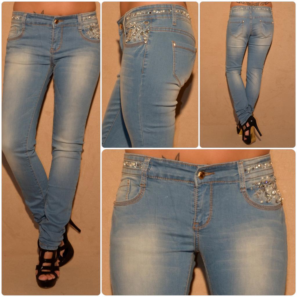 Fashion stretch JEANS mit Strass   Perlen besetzt   Jeans   Damenmode   Mode    Coral Fashion df909b400f