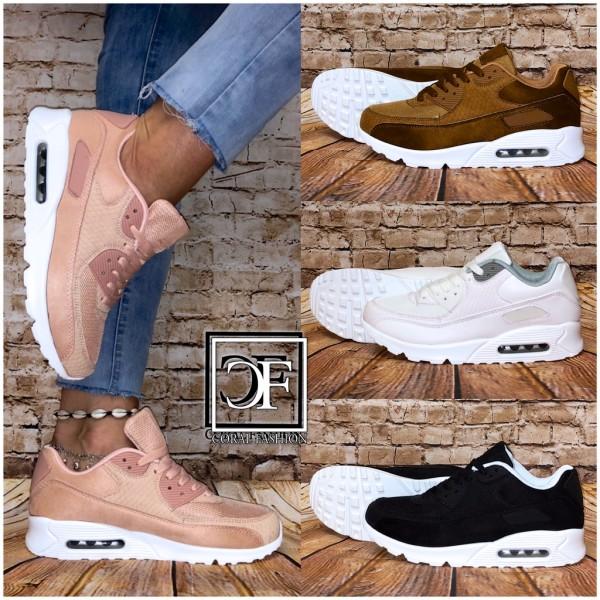 Bequeme BASIC Damen LUFT Sportschuhe / Sneakers Rauleder Optik in 4 Farben