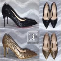 Fashion GLITZER High Heels / Pumps mit Pfennigabsatz