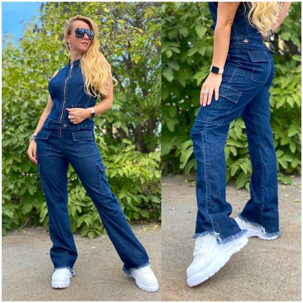 Italy Damen Denim JEANS Overall Jumpsuit Hose BLAU / Marke PLEASE Fashion