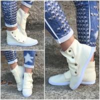 ANGEBOT!!! - JERSEY Sneakers mit Druckknöpfen BEIGE