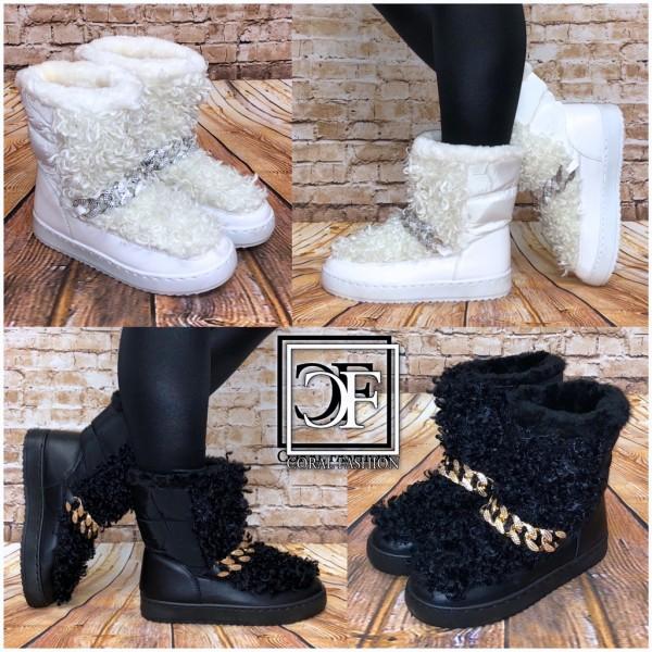 Damen Winter Stiefel Boots Schneestiefel Snowboots Deko Kette mit Kunstfell gefüttert in SHEEP Look