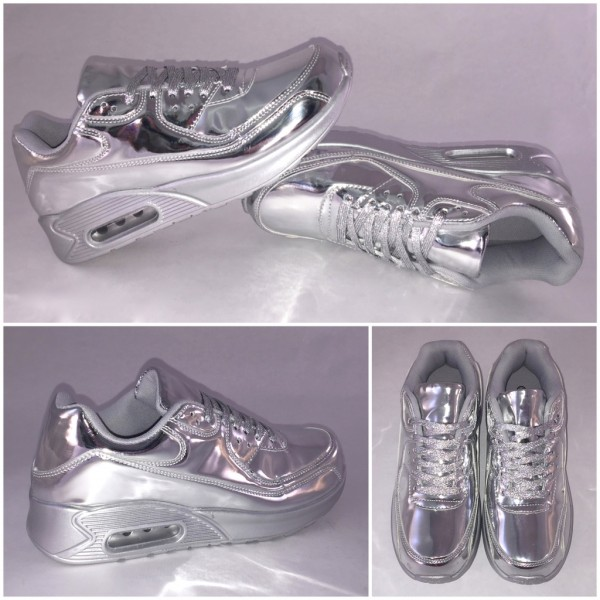 LACK New LUFT Sportschuhe / Sneakers SILBER