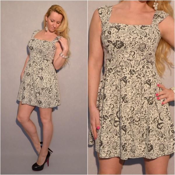 ITALY Kleid mit Blumen Muster SCHWARZ / WEISS