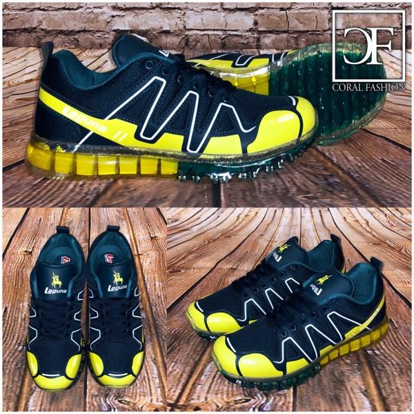 Bequeme Damen Full LUFT Sportschuhe / Sneakers grün / gelb
