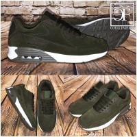 HERREN Rauleder-Look AIR Sportschuhe / Sneakers Olive-Grün