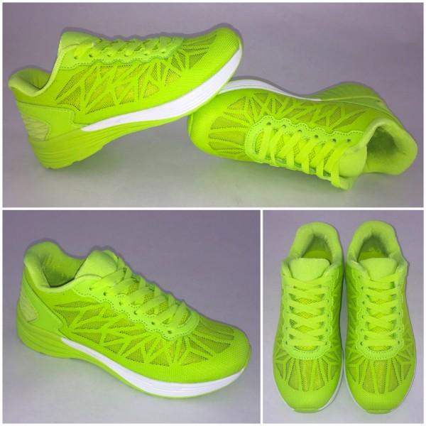 Damen Net Netz Stripes Sportschuhe Sneakers Neon Grün